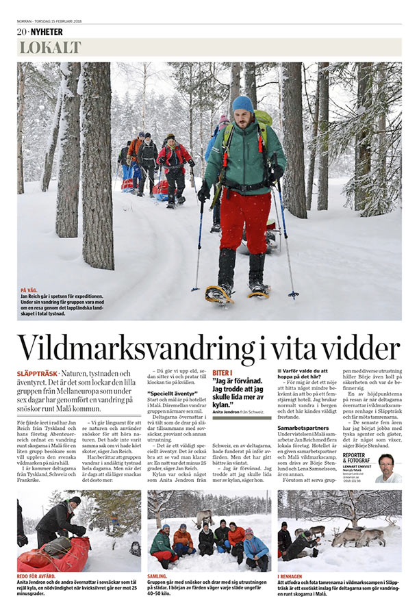 abenteuerreich, erlebnistouren, schweden, lappland, zeitung, reporter, pulkatour,norran, mala, flycar, geführte tour, wintertour