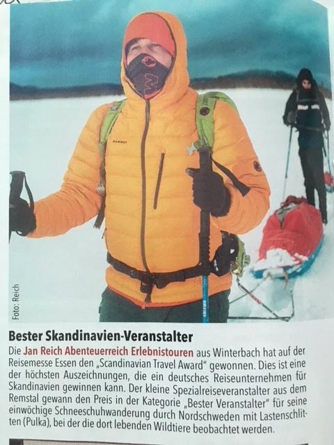 abenteuerreich Erlebnistouren, IHK, Magazin IHK, Blog, Scandinavian Travel Award2018, Winterbach, Pulkatour, Nordschweden, Expedition, Mammut